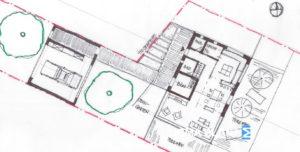 Bebauungsplan, Grundstücksaufteilung, Funktionsverteilung Haus